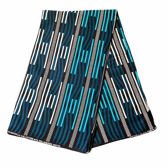 Pagne - Wax 100% coton - Graphiques - Turquoise / Bleu / Noir