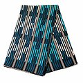 Coupon de tissu - Wax 100% coton - Graphiques - Turquoise / Bleu / Noir
