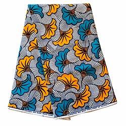 Pagne - Wax 100% coton - Fleurs - Turquoise / Jaune / Blanc