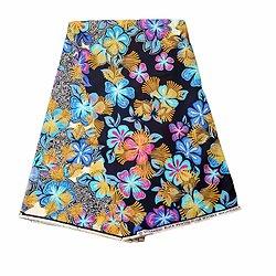 Coupon de tissu - Wax 100% coton - Fleurs - Multi-couleurs