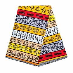 Coupon de tissu - Wax 100% coton - Graphiques - Rouge / Orange / Gris