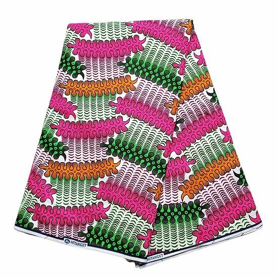 Pagne - Wax 100% coton - Graphiques - Orange / Rose / Vert