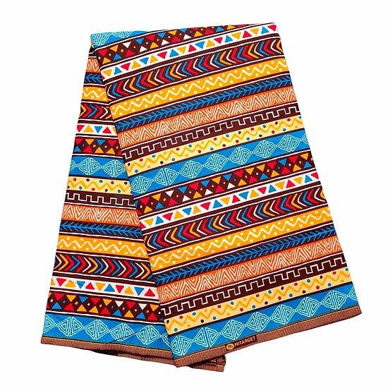 Coupon de tissu - Wax 100% coton - Graphiques - Bleu / Rouge / Orange