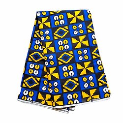 Pagne - Wax 100% coton - Graphiques - Bleu / Jaune / Noir