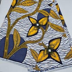 Coupon de tissu - Wax - Feuilles - Bleu / Jaune / Blanc