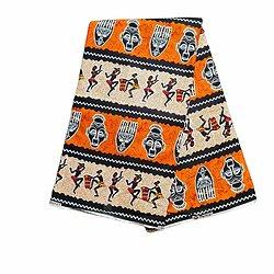 Pagne - Wax 100% Coton - Danse de la joie - Terracotta / Beige / Noir