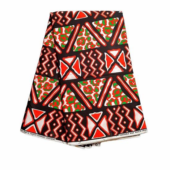 Coupon de tissu - Wax 100% coton - Graphiques - Orange / Vert / Noir
