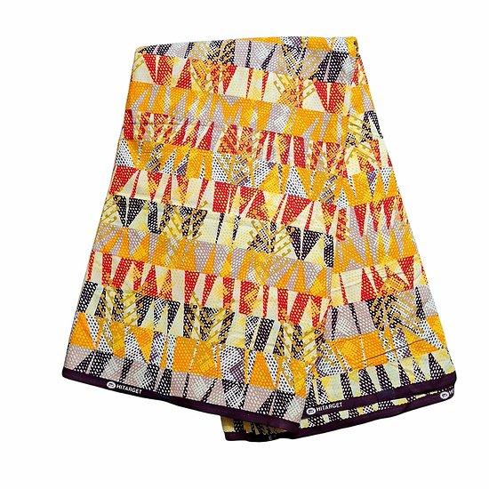 Coupon de tissu - Wax 100% coton - Graphiques - Orange / Rouge / Marron