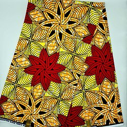 Coupon de tissu - Wax - Etoiles - Rouge / Orange / Jaune