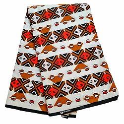 Pagne - Wax 100% coton - Graphiques - Rouge / Marron / Noir