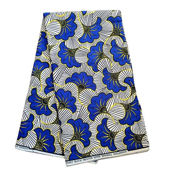 Coupon de tissu - Wax 100% coton - Fleurs - Bleu / Jaune / Noir