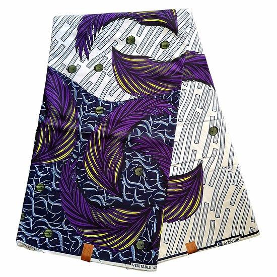Pagne - Wax 100% coton - Graphiques - Violet / Jaune / Bleu