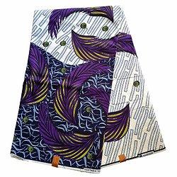 Coupon de tissu - Wax 100% coton - Graphiques - Violet / Jaune / Bleu