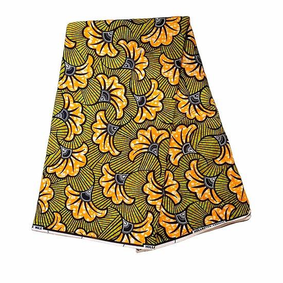 Pagne - Wax 100% coton - Fleurs - Vert / Orange / Noir
