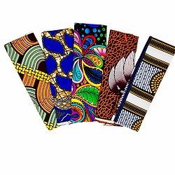Wax 100% coton - Lot N°17 - 5 coupons de 50cm / 1m20