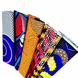 Wax 100% coton - Lot N°20 - 5 coupons de 50cm / 1m20