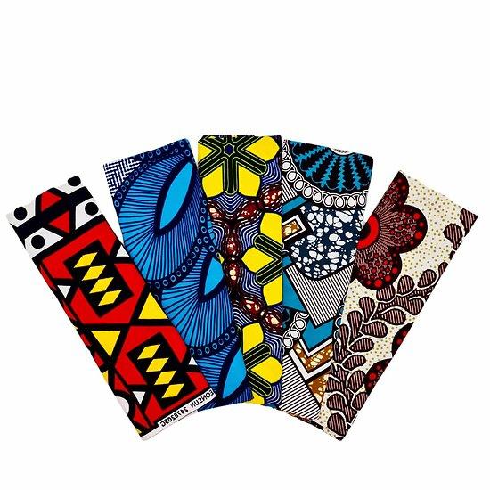 Wax 100% coton - Lot N°21 - 5 coupons de 50cm / 1m20