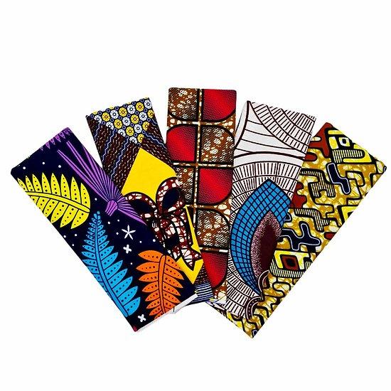 Wax 100% coton - Lot N°22 - 5 coupons de 50cm / 1m20