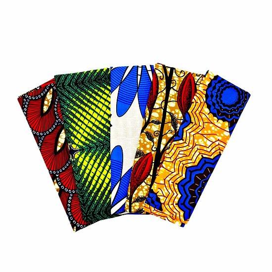 Wax 100% coton - Lot N°23 - 5 coupons de 50cm / 1m20