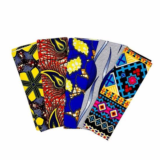 Wax 100% coton - Lot N°24 - 5 coupons de 50cm / 1m20