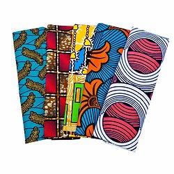 Wax 100% coton - Lot N°26 - 5 coupons de 50cm / 1m20