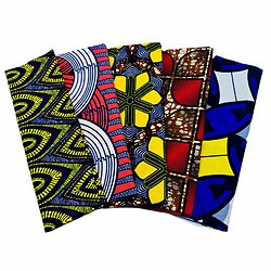 Wax 100% coton - Lot N°28 - 5 coupons de 50cm / 1m20