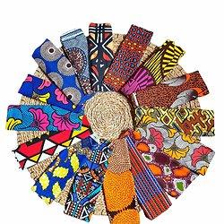 Wax 100% coton - Lot N°01 - 16 coupons de 50cm / 1m20