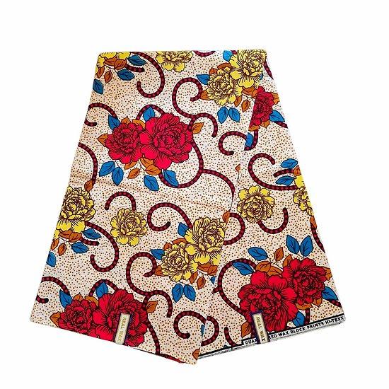 Pagne - Wax 100% coton - Fleurs - Rouge / Jaune / Bleu