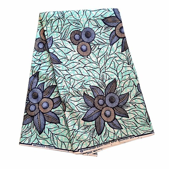 Coupon de tissu - Wax 100% coton - Fleurs - Bleu / Brun / Turquoise