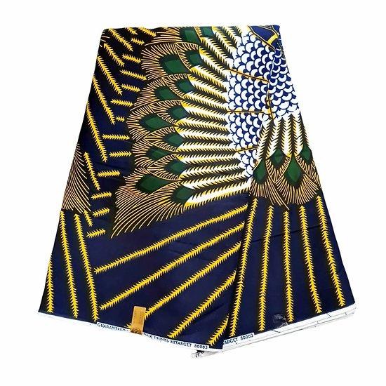 Coupon de tissu - Wax 100% coton - Plumes - Bleu / Vert / Jaune