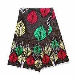 Pagne - Wax 100% coton - Feuilles - Vert / Jaune / Rouge
