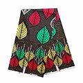 Coupon de tissu - Wax 100% coton - Feuilles - Vert / Jaune / Rouge