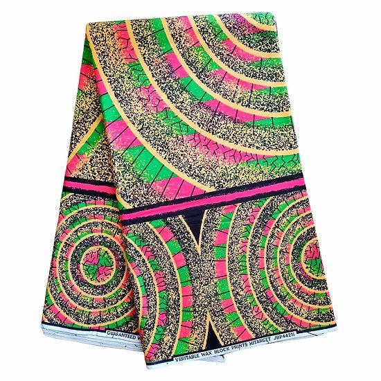 Coupon de tissu - Wax 100% coton - Graphiques - Rose / Vert / Beige