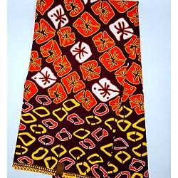 Coupon de tissu - Wax - Graphiques - Orange / Marron / Jaune