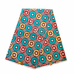 Pagne - Wax 100% coton - Ronds - Turquoise / Rouge / Ocre