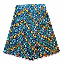 Pagne - Wax 100% coton - Graphiques - Turquoise / Jaune / Bleu