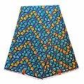 Coupon de tissu - Wax 100% coton - Graphiques - Turquoise / Jaune / Bleu