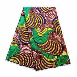 Pagne - Wax 100% coton - Graphiques - Vert / Jaune / Rouge
