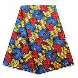 Pagne - Wax 100% coton - Graphiques - Rouge / Bleu / Ocre