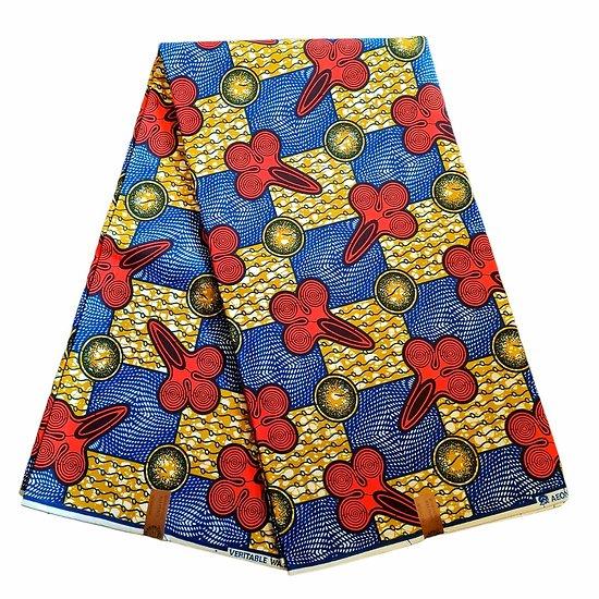 Coupon de tissu - Wax 100% coton - Graphiques - Rouge / Bleu / Ocre