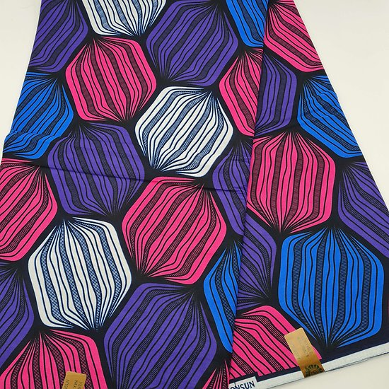 Coupon de tissu - Wax - Graphiques - Bleu / Violet / Rose