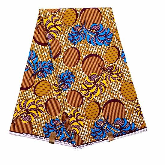 Coupon de tissu - Wax 100% coton - Graphiques - Bleu / Jaune / Marron