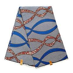 Coupon de tissu - Wax 100% coton - Graphiques - Bleu / Marron / Noir