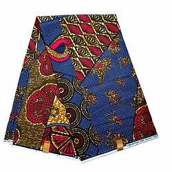 Coupon de tissu - Wax 100% coton - Patchwork - Bleu / Rose / Brun