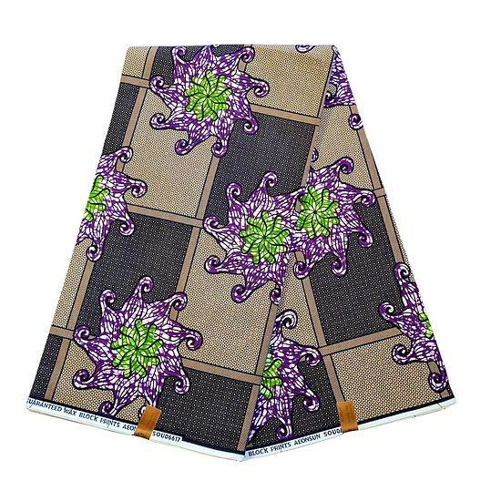 Pagne - Wax 100% coton - Fleurs - Violet / Vert / Brun