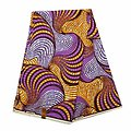 Coupon de tissu - Wax 100% coton - Graphiques - Violet / Mauve / Orange