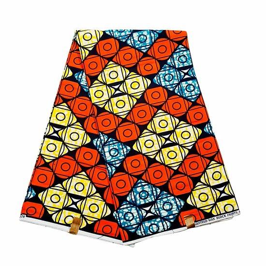 Coupon de tissu - Wax 100% coton - Graphiques - Orange / Jaune / Bleu