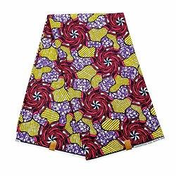 Pagne - Wax 100% coton - Graphiques - Rose / Mauve / Jaune