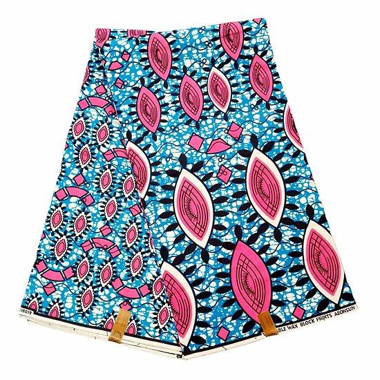 Pagne - Wax 100% coton - Graphiques - Rose / Bleu / Noir