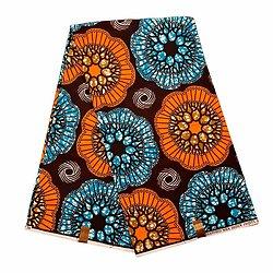 Pagne - Wax 100% coton - Graphiques - Orange / Bleu / Marron